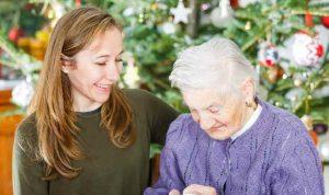 Elderly Woman Spending Christmas in Nursing Home